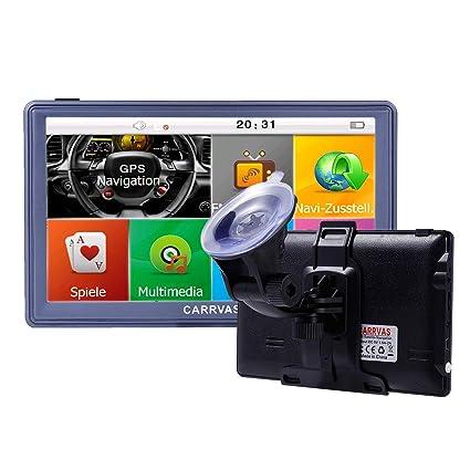 carrvas 7 Pulgadas Sat Nav Europe Traffic GPS Navegación, Dispositivo para Coche camión Taxi Instalar Tarjetas Europea 8 GB 1600 mAh (T736)