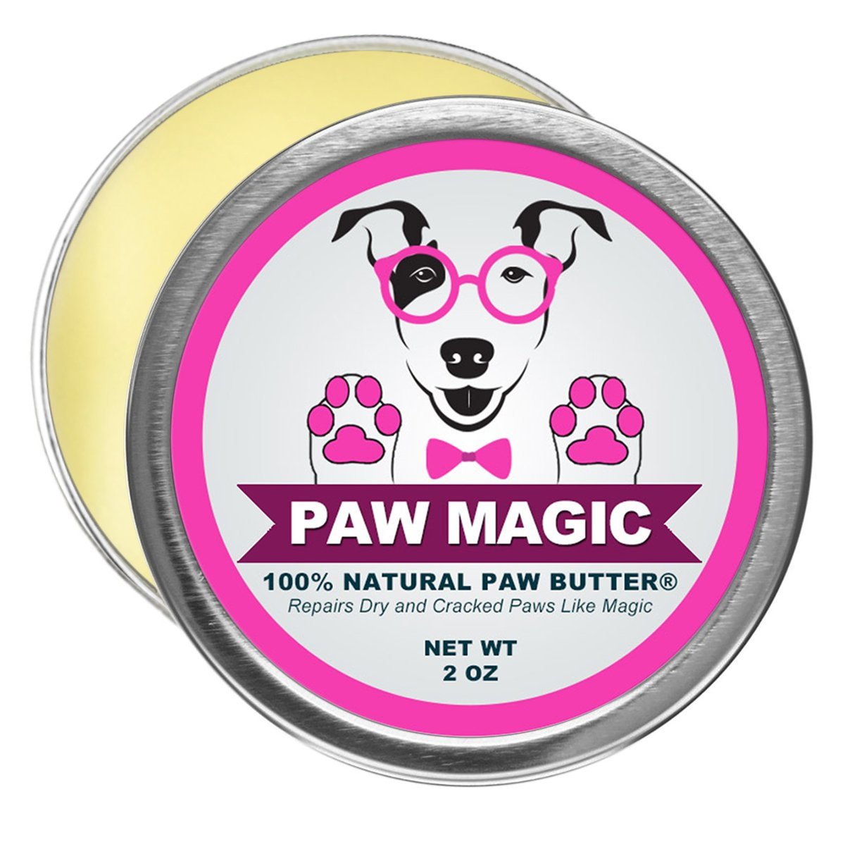 Paw Magic: Organic Natural Dog Paw Butter Moisturizer - Proven To Cure and Soothes Your Dog's Rough, Cracked, and Dry Paws Caused By Hyperkeratosis - 2 Ounce