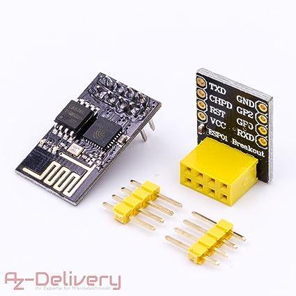 AZDelivery ⭐⭐⭐⭐⭐ ESP8266 ESP-01 Serial Wireless WLAN WiFi Transceiver  Module with ESP-01 Breakout Breadboard Adapter for Arduino