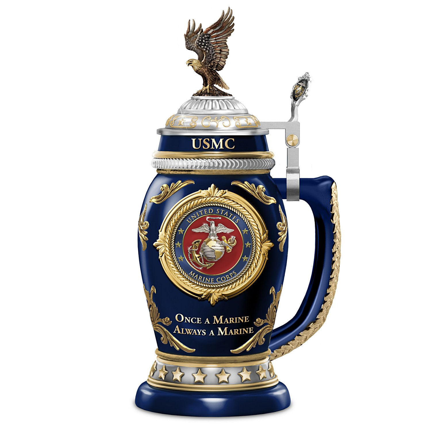 United States Marine Corps Collectible Heirloom Porcelain Stein with 22K Gold by The Bradford Exchange