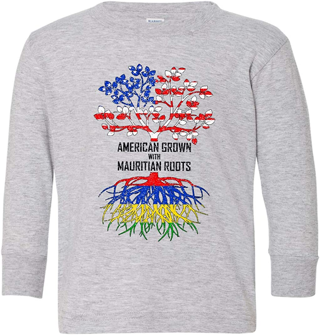 Tenacitee Toddlers American Grown with Mauritian Roots Long Sleeve T-Shirt