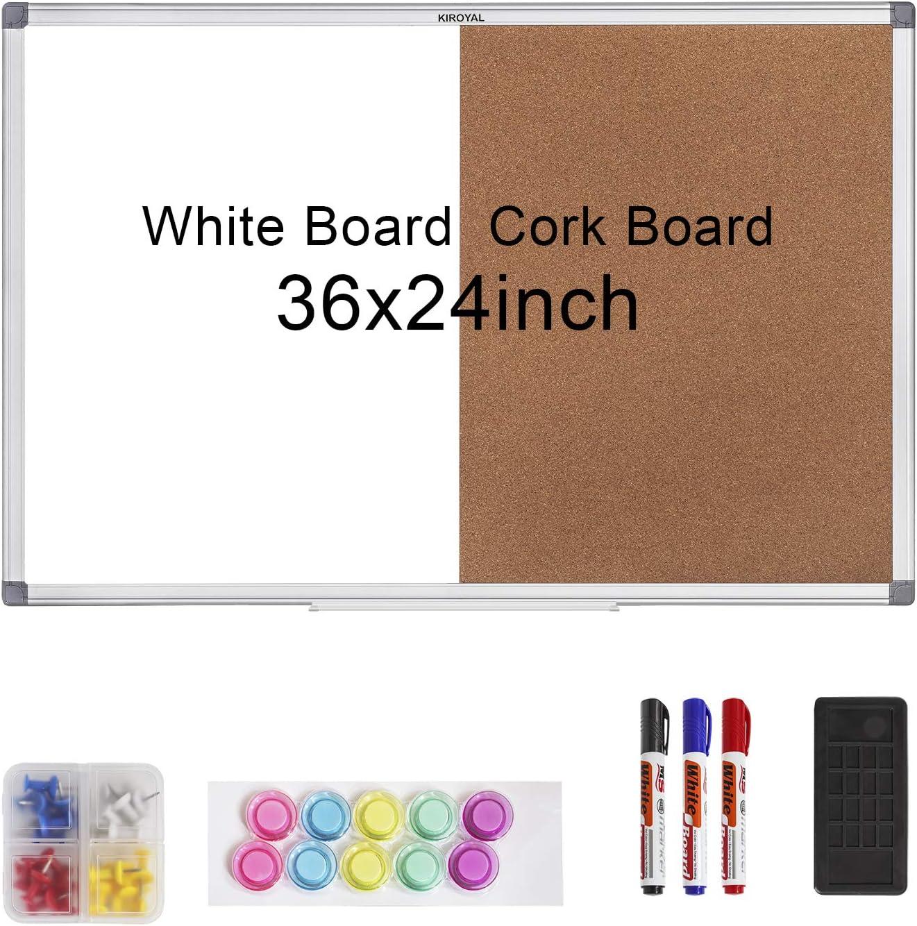 KIROYAL Cork Board 36 x 24 Combo White Board Magnetic Combination Whiteboard Bulletin Dry Erase Board & Corkboard for Homeschooling, Office, Classroom Hanging Message Board Wall Mounted