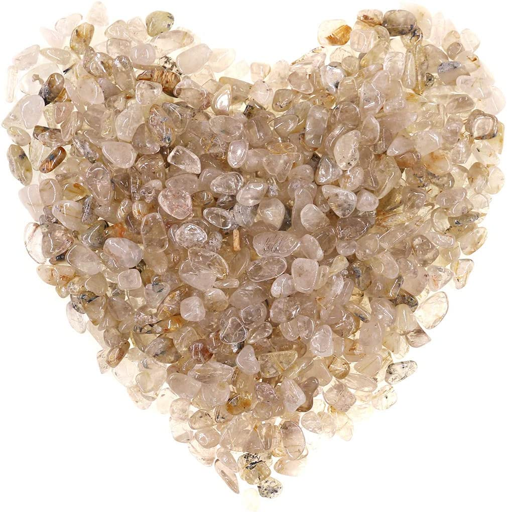 Hilitchi Quartz Stones Tumbled Chips Stone Crushed Crystal Natural Rocks Healing Home Indoor Decorative Gravel Feng Shui Healing Stones (About 1lb(450g)/Bag) (Gold Rutile Quartz)