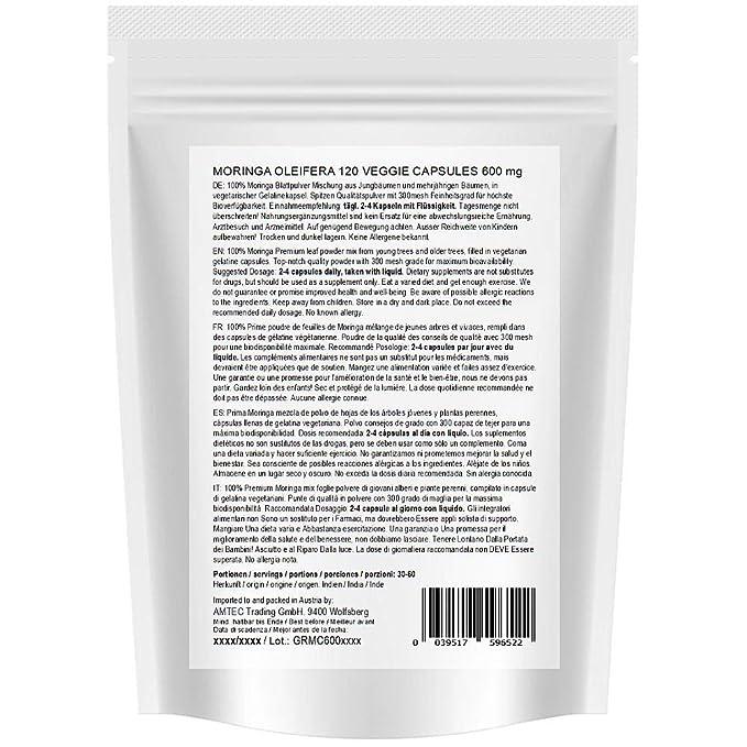 Moringa 240 oleifera veggie altas dosis de 600mg cápsulas - 100% de alimentos crudos vegano (2x120 cápsulas): Amazon.es: Salud y cuidado personal