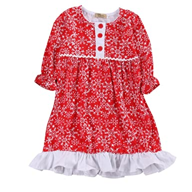 toddler girls christmas outfits babys long sleeve snowflake xmas party dress 1 2 year