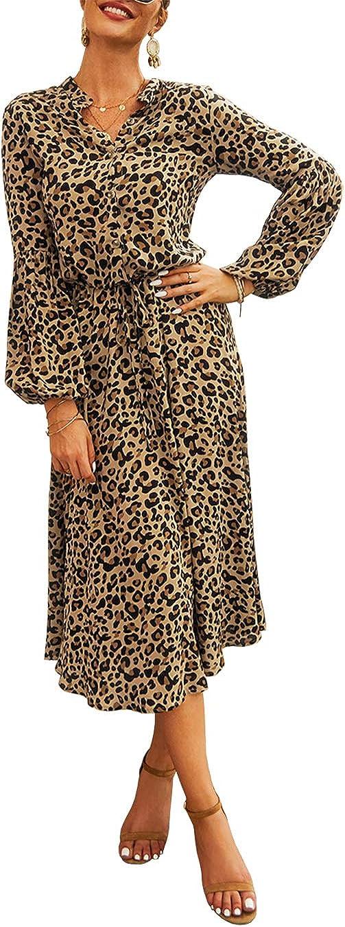KIRUNDO 2020 Women's Midi Leopard Dress Stylish Long Sleeves High Waist Dress Button Front Drawstring Wait Belt A-Lined Dress