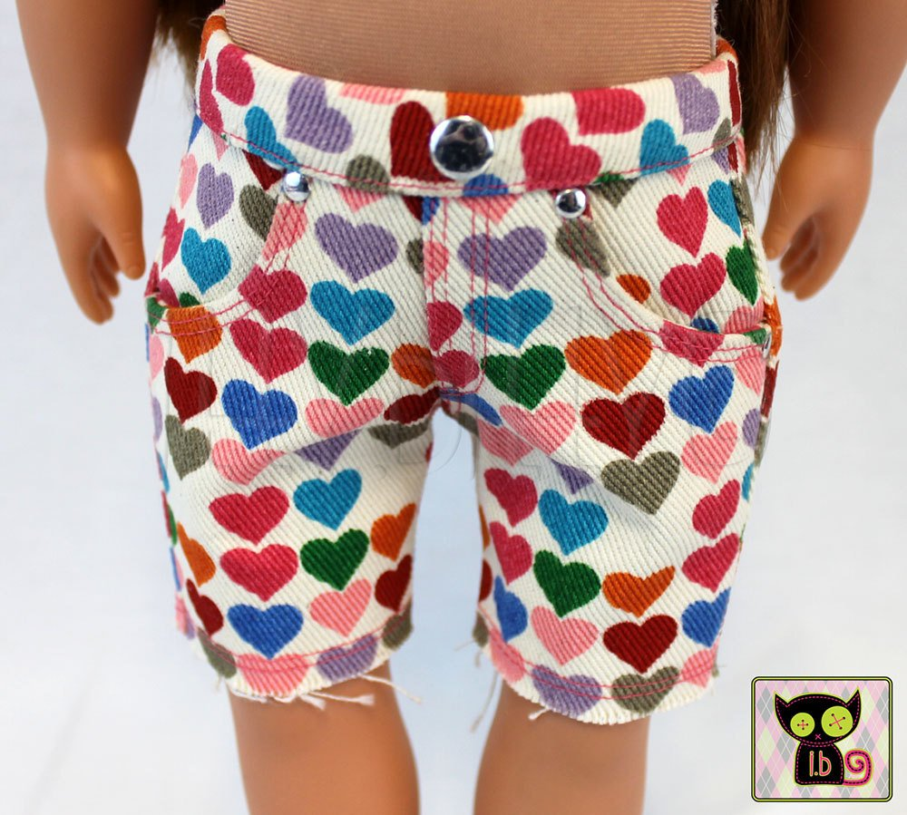 Heart Print Knee-Length Jean Shorts for 18 Inch Dolls