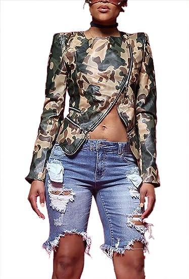 c6ee2ff32ca0ec Womens Casual Camo Jackets Long Sleeve Crop Top Faux Leather Split Coat Tops  Outwear Clubwear with