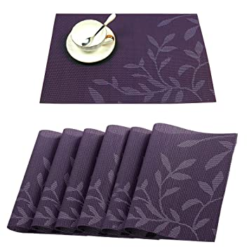 Marvelous Tennove Table Mats Set Of 6 Washable Placemats Woven Vinyl Pvc Place Mat For Home Kitchen And Outdoor Purple Flower Home Interior And Landscaping Ponolsignezvosmurscom
