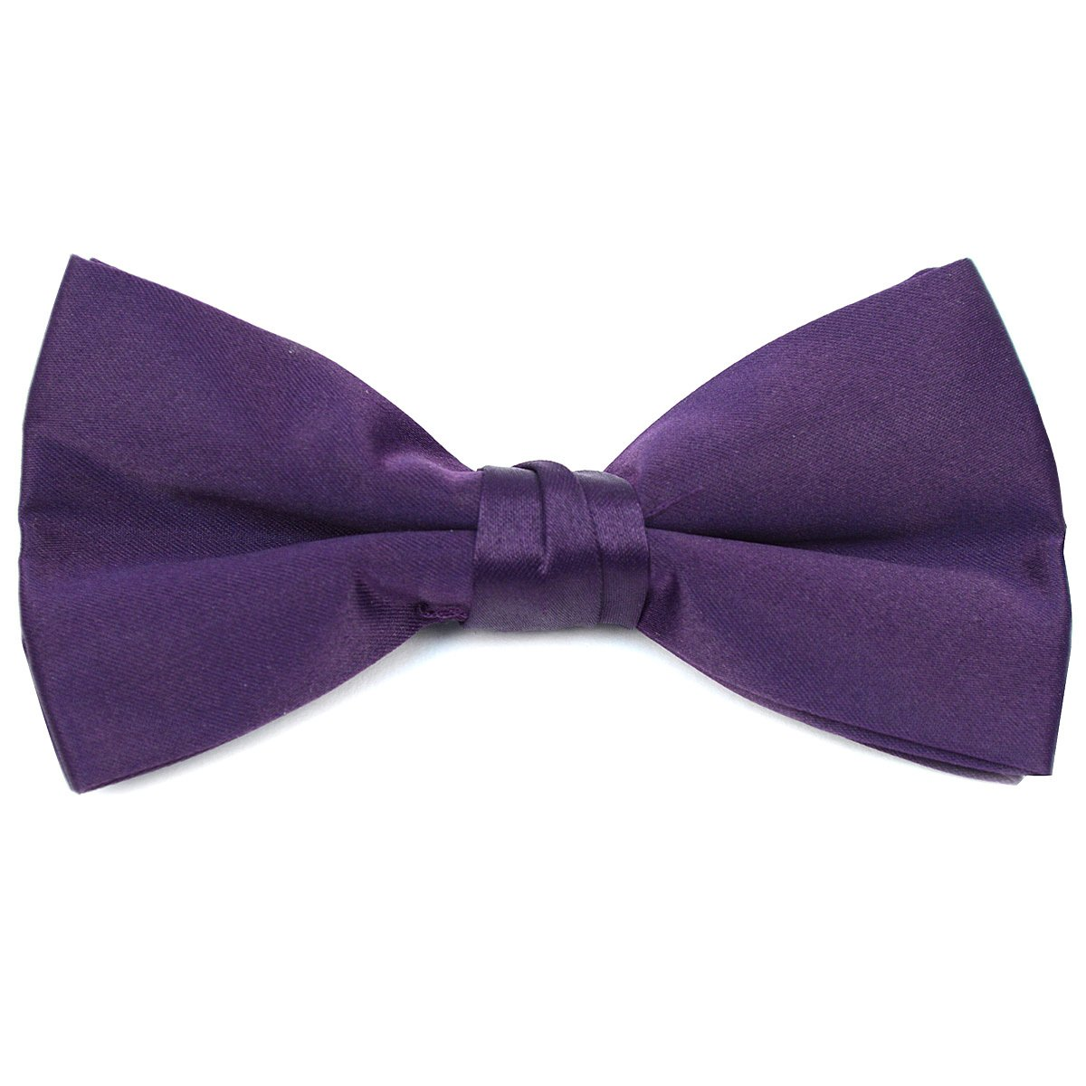 Formal Solid Polyester Boys Bow Tie-Dark Purple
