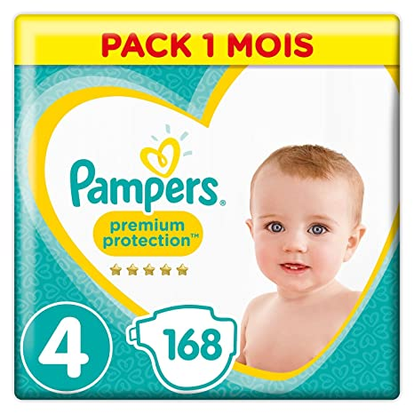 Pampers - Premium Protection - Couches Taille 4 (9-14 kg) - Pack 1 mois (x168 couches)