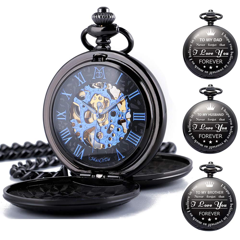 ManChDa Mechanical Engraved Pocket Watches Skeleton Double Cover Roman Numerals Dial Personalized Gift with Box and Chain for Mens Women Gift for Dad Mom Son Graduation Brother