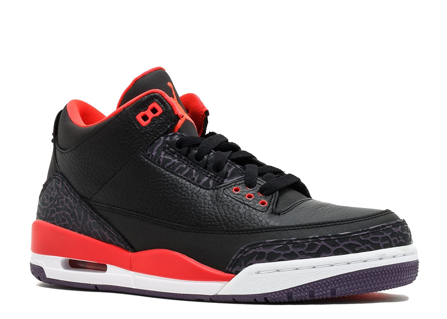new style 0afe3 ed149 Jordan Mens Nike Air Retro 3 BRED Basketball Shoes Black/Bright  Crimson/Purple 136064-005 Size 12