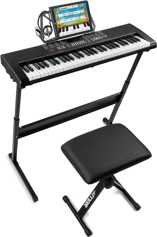 Max KB4 Premium - Teclado electrónico piano para principiantes, con soporte para teclado, banco acolchado y auriculares de audio, 61 teclas, ideal ...