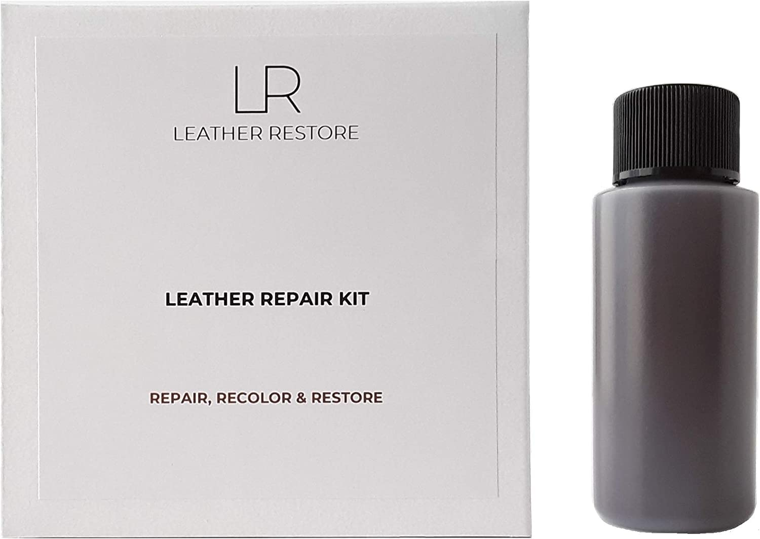 Leather and Vinyl Repair Kit with Ready to Use Color, Dark Brown - Repair, Recolor & Restore Couch, Furniture, Auto Interior & Car Seats