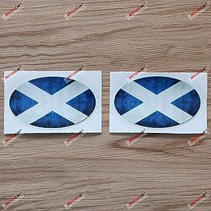 2X Glossy 3 Inches Scotland Scottish Flag Oval Decal Vinyl Sticker Car Laptop Window Distressed