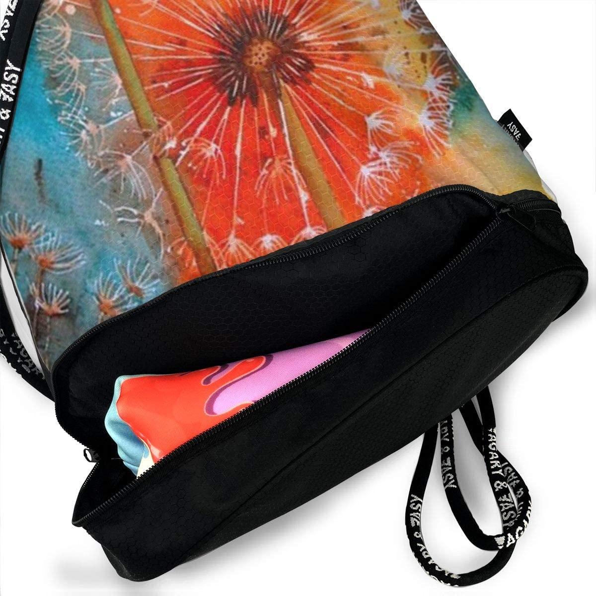 Lightweight Waterproof Large Storage Drawstring Bag For Men /& Women Watercolor Dandelion Cinch Backpack Sackpack Tote Sack
