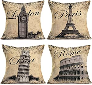 "ShareJ World Famous Building Cotton Linen 4 Pack Cushion Cover London Paris Pisa Rome Vintage Pattern Square Decor Pillow Shams for Home Sofa Decorative Throw Pillow Case 18"" X 18"" (Building)"