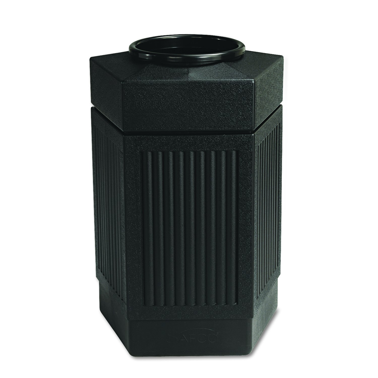 Safco Products Canmeleon Outdoor/Indoor Open Top Pentagon Trash Can 9485BL, Black, Five Fluted Panels, 30-Gallon Capacity