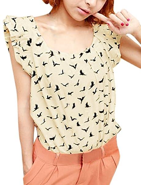 Allegra para el Cuello Jersey K Espacios para Pantalones de Deporte para Mujer Diseño de Pájaros