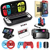 Switch Accessories Bundle, Kit with Carrying Case, Protective Case with Screen Protector, Compact Playstand, Switch Game Case, Joystick Cap, Charging Dock, Grip and Steering Wheel for Nintendo Switch