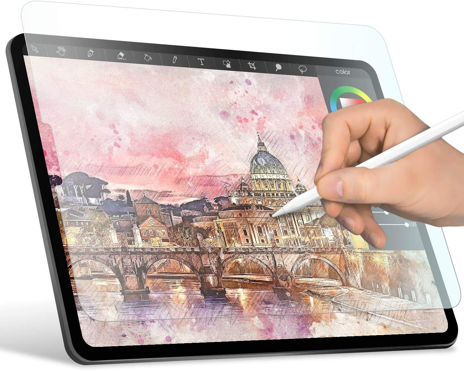 """ELECOM Paper-Feel Screen Protector Designed for Drawing, Anti-Glare Scratch-Resistant Bubble-Free, Compatible with 12.9"""" iPad Pro 2018/2020 (TB-A18LFLAPL-W)"""