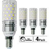 Hzsane E14LED ampoule à maïs 12W, 100W équivalent ampoules à incandescence, 6000K Blanc lumière du jour Chandelier E14SES ampoules, non dimmable, 1200LM, ampoule LED, culot à vis Edison Ampoules, 4-pack