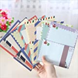 SCStyle 32 Cute Lovely Kawaii Special Design Writing Stationery Paper with 16 Navy Style Envelopes