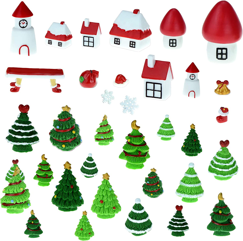 HOVEOX 35 Pieces Christmas Miniature Ornaments Mini Christmas Figurines Snowy Winter Fairy Garden Snow Globe Figurines Miniature Christmas Tree Christmas Dollhouse Decoration for Christmas Party