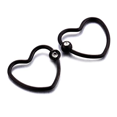 6b3b5813e65e6 YC_jewelry 2pcs Heart Captive Bead Rings Hoop Earring Cartilage Tragus  Helix Nose with Clear Crystal Zircon