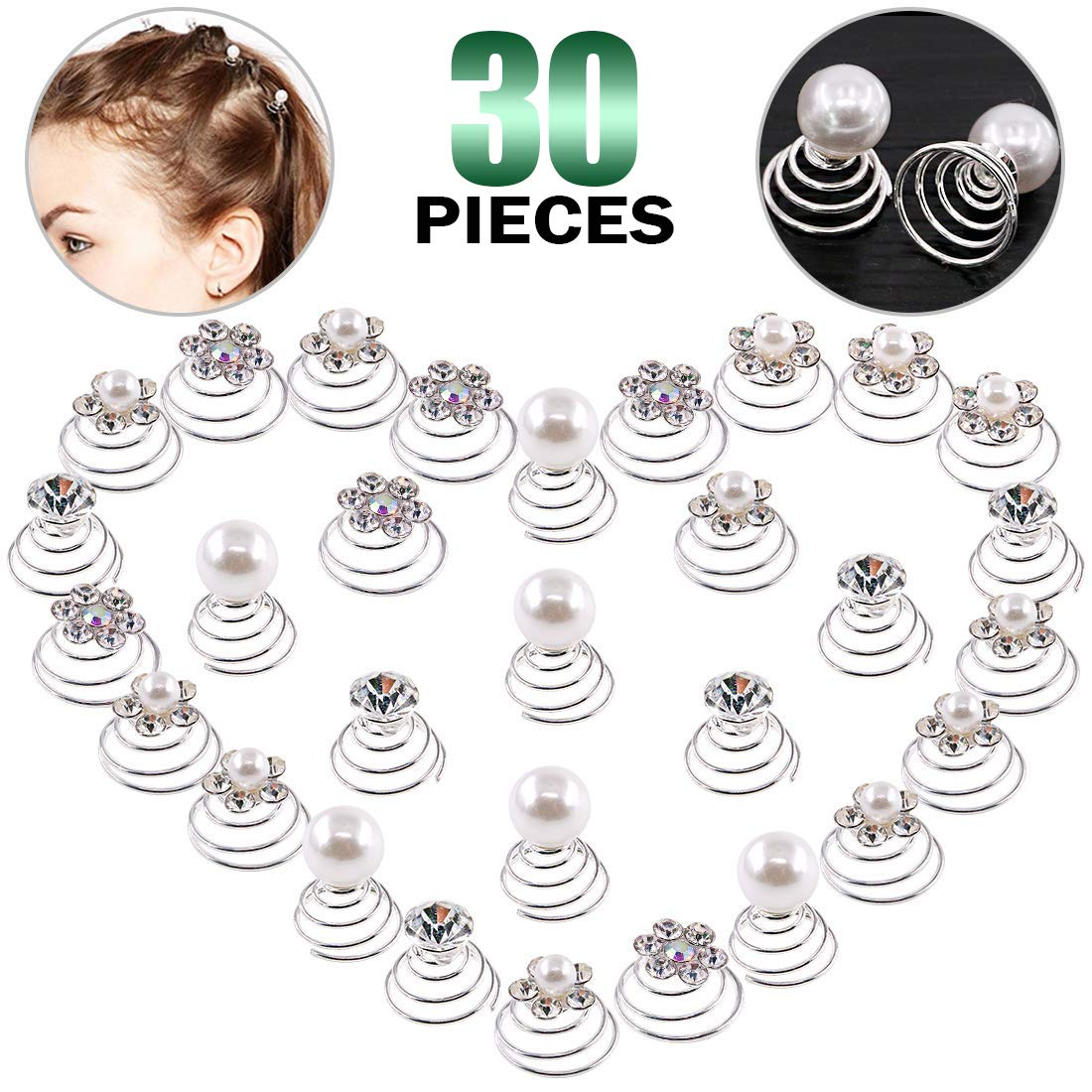Keadic 30Pcs 5 Types of Professional Spiral Hair Pins Clear Crystal Swirl Hair Twists Coils Spirals Hair Pin Clip Accessories for Delicate Women' Wedding Prom Party and Special Occasions
