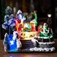 Impress Life Dynamic Rotation Christmas House Village, Snow River Themed, Led Lighting, Battery Operated LED Light Up Christmas Windmill Scene Decoration, Music Rendering Atmosphere