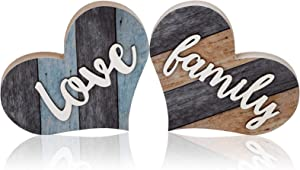 2 Pieces Rustic Wooden Sign Heart-Shaped Wooden Decoration Wooden Wall Decor Multicolor for Bedroom Kitchen Living Room Table Centerpiece Words (Family, Love)