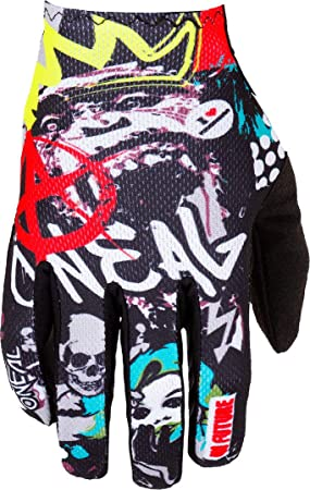 O Neal Fahrrad Motocross Handschuhe Mx Mtb Dh Fr Downhill Freeride Langlebige Flexible Materialien Belüftete Handoberseite Matrix Glove Rancid Unisex Schwarz Multi Größe M Auto