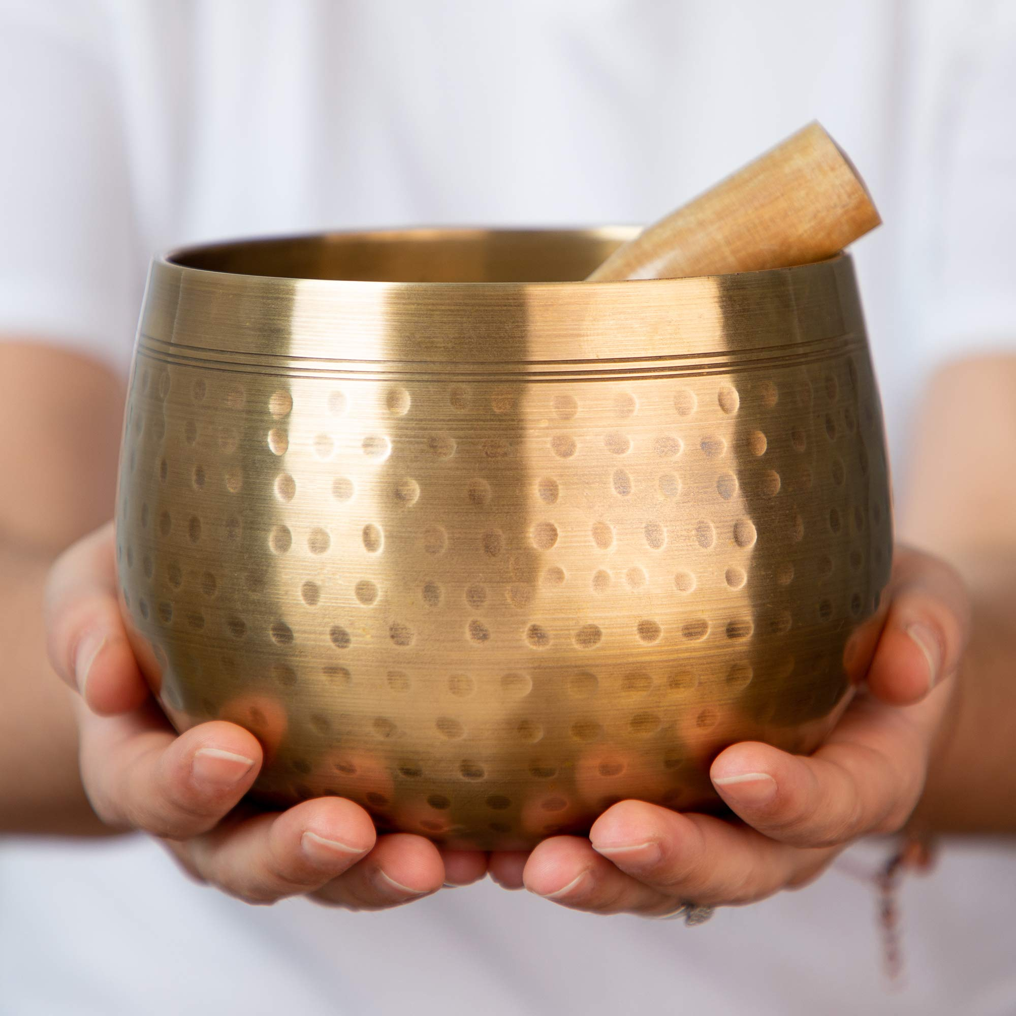 Meditative Brass Singing Bowl with Mallet and Cushion  -Tibetan Sound Bowls for Energy Healing, Mindfulness, Grounding, Zen, Meditation  -  Exquisite, Unique Home Decor and Gift Sets by Telsha (Image #1)