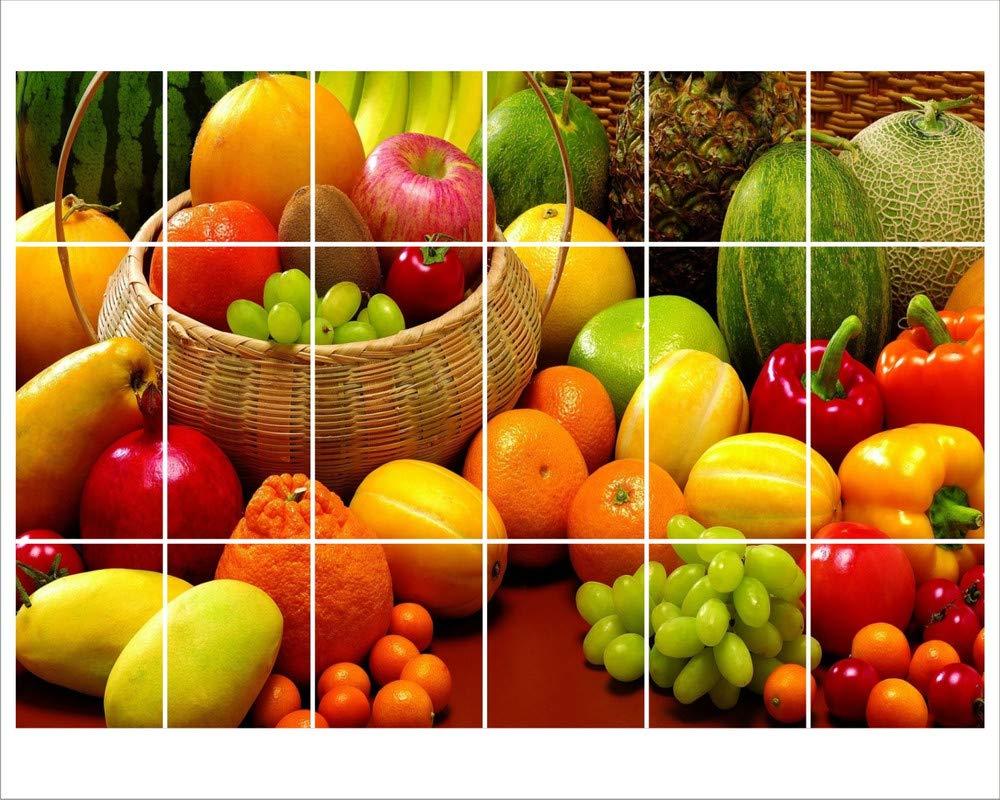 Wallguru Waterproof Kitchen Veg And Fresh Fruits Wallpaper Wall Sticker Multicolour Size 48x71cm Amazon In Home Kitchen