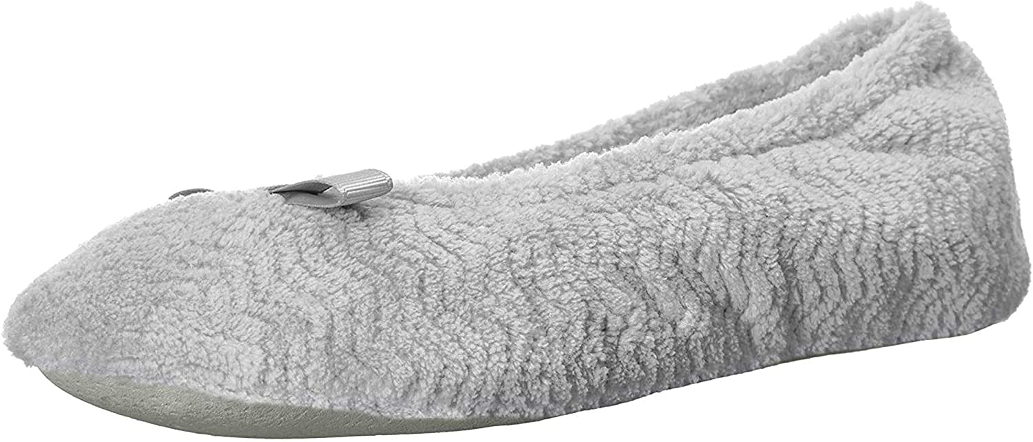 isotoner Women's Chevron Microterry Ballerina House Slipper with Moisture Wicking and Suede Sole for Comfort