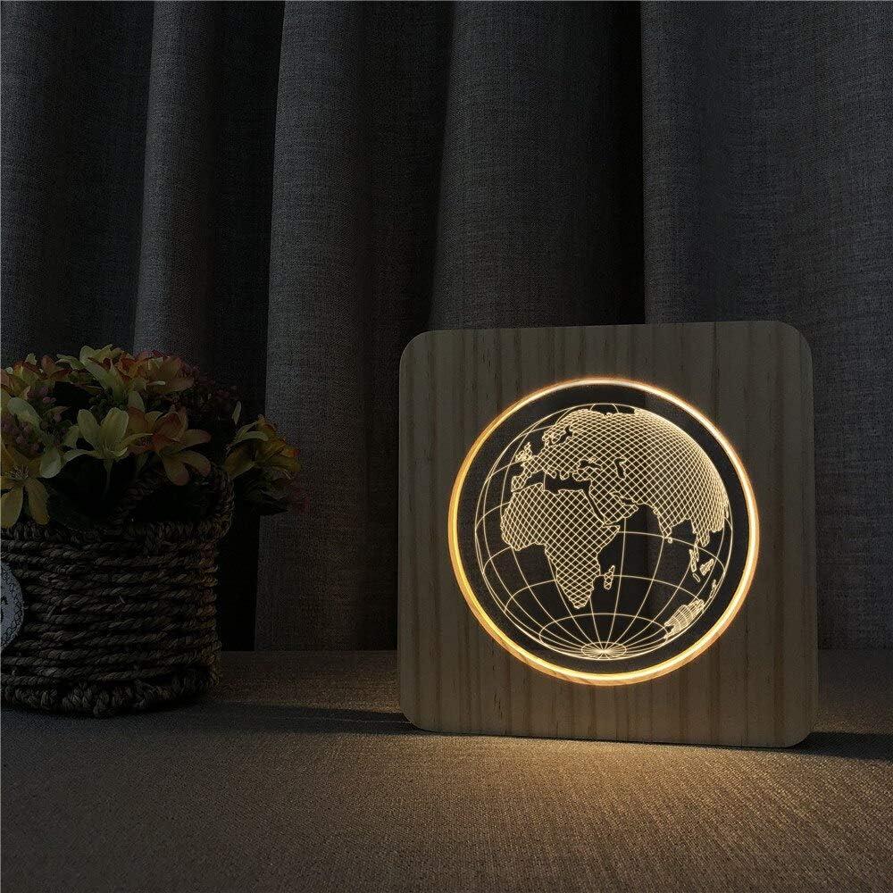Lámpara de Grabado de Control de Interruptor de luz de Mesa de luz Nocturna de Mapa Europeo para decoración de Habitaciones Infantiles