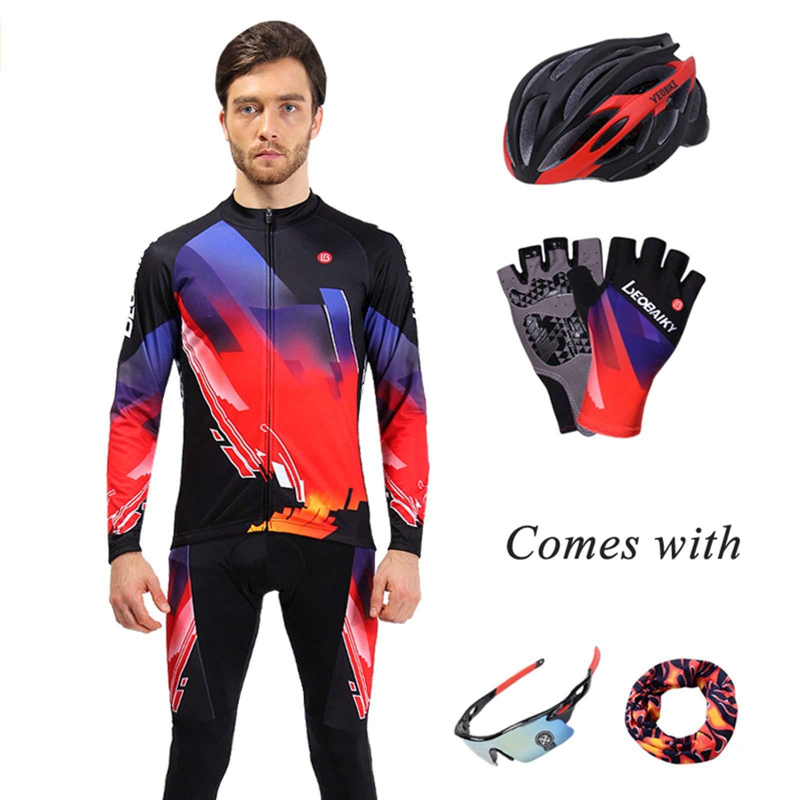 Aooaz Men's Biking Clothing Set Shirt Leggings with Helmet/Gloves/Goggles/Mask Black S