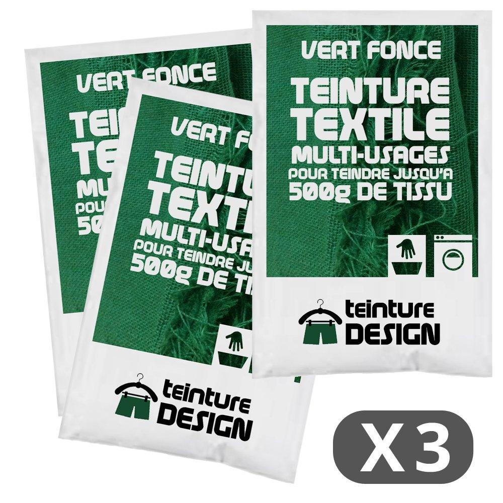 Lot de 3 sachets de Teinture Textile - VERT FONCE - teintures universelles pour vê tements et tissus naturels Teinture Design