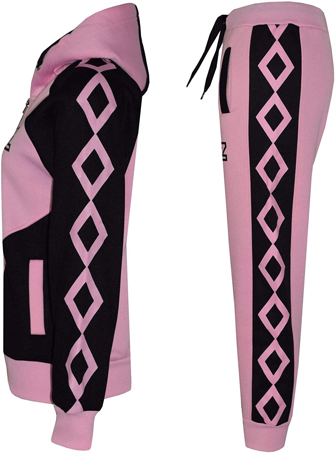 A2Z 4 Kids/® Kids Girls Tracksuit Designers Baby Pink Contrast Panel Cross Stripes Print Zipped Top Hoodie /& Botom Jogging Suit Joggers Age 5 6 7 8 9 10 11 12 13 Years