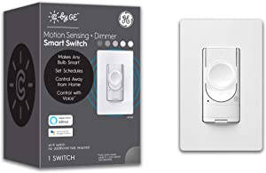 C by GE 4-Wire Motion Sensing Switch Dimmer for Smart Bulbs- Works with Alexa + Google Home Without Hub, Single-Pole/3-Way Replacement On/Off Toggle, White