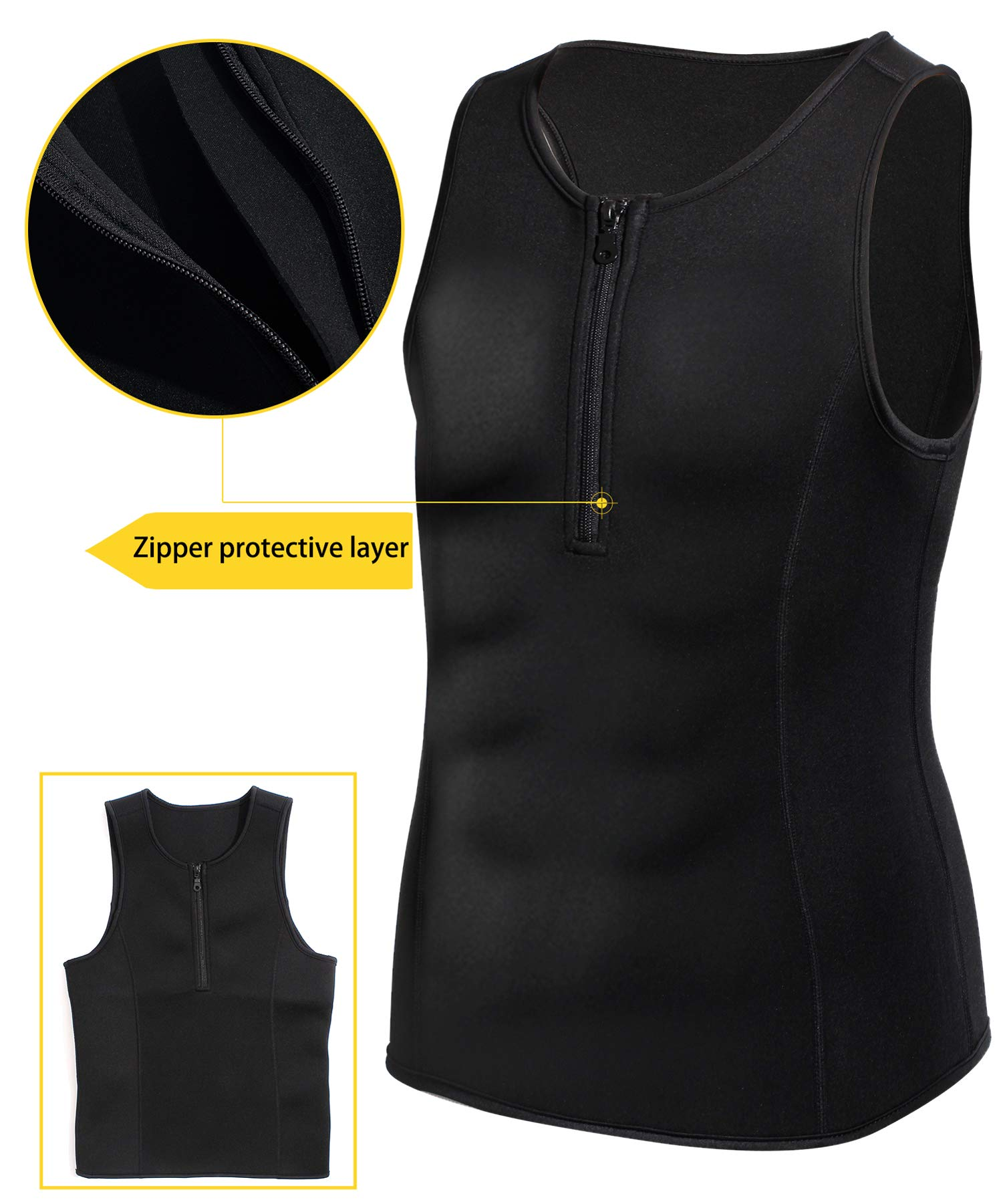 3cf45822f02 Junlan Men Weight Loss Shirts Waist Trainer Shaper Slim Tank Top Workout  Exercise Vest (Sauna Tank Black
