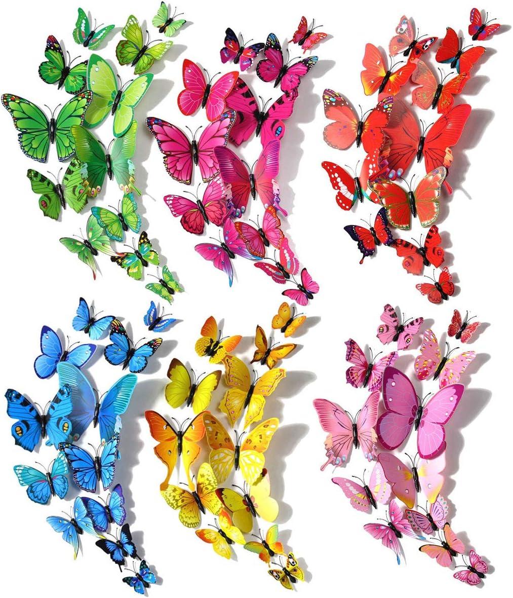 Decoración de mariposas, robusta decoración de mariposas de plástico para decoración de paredes, habitación infantil (120 piezas en 24 azul, 12 rojo, 12 verde, 24 amarillo, 24 rosa, 24 rojo)