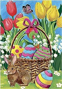 Morigins Bunny Tulip 12.5 x 18 Inch Decorative Spring Easter Cute Rabbit Flower Garden Flag