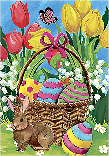 Amazon Com Morigins Bunny Tulip 28 X 40 Inch Decorative Spring Easter Cute Rabbit Flower House Flag Garden Outdoor