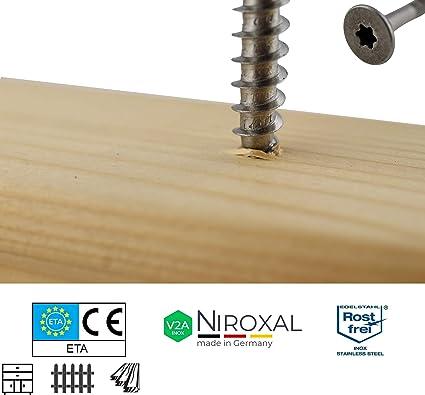 Edelstahl TORX Senkkopf-Schraube aus V2A 8-mm stark 160-mm Schrauben-L/änge 10 St/ück 80-mm Teil-Gewinde Holz-Schraube 8x160