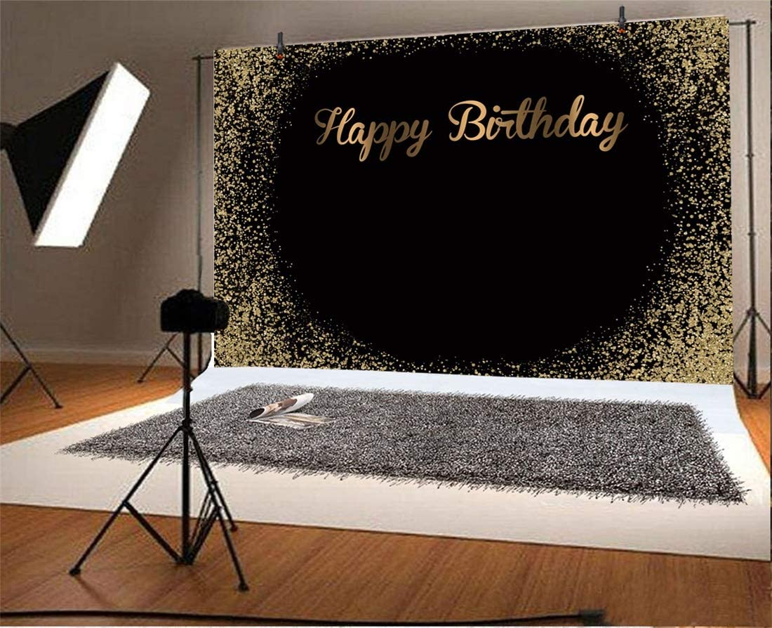 Yeele 6x4ft Happy Birthday Photography Background Magnificent Banner for Birthday Kids Adults Glitter Sequins Luxury Shining Blank Baby Shower Cake Table Photo Backdrop Portrait Vinyl Studio Prop