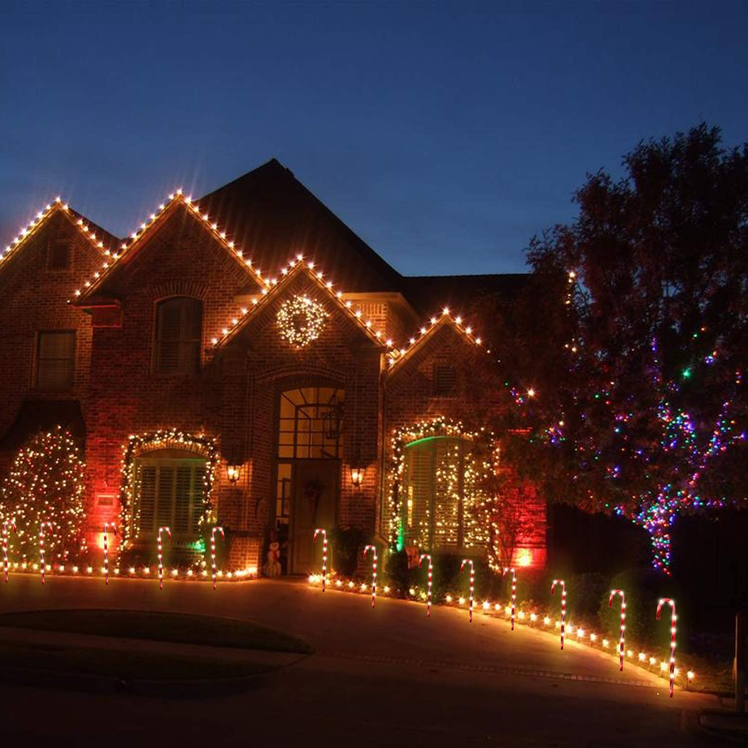 for Walkway 26 light Up Candy Canes Light with 6 Tungsten Bulbs Candy Cane Lights Christmas Pathway Markers Light Decorations 6 Pack Holiday Party Decor Yard UL Listed Home Xmas Outdoor Light