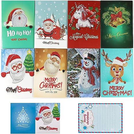 OWAY 8 Pack Tarjetas de Navidad Diamante Pintura Kits por Número Kits DIY Regalo de Navidad para Vacaciones, Amigos y Familia: Amazon.es: Juguetes y juegos